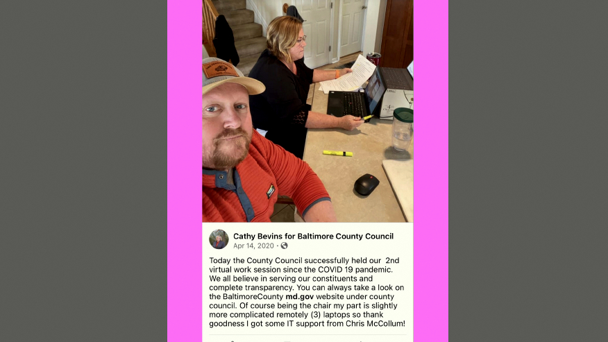 Chris McCollum served as Councilwoman Bevin's IT consultant as she held virtual meetings as Council chairwoman last year. (Twitter)