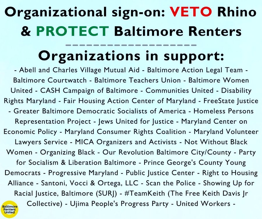 List of groups signed on to call for Mayor Scott to veto the Security Deposit Alternatives RHINO bill @b_renters