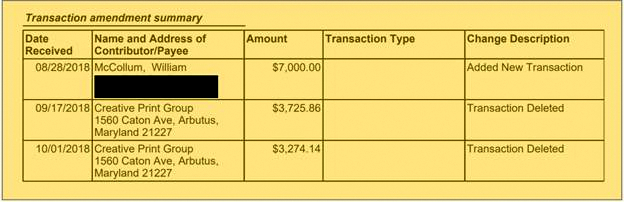 An amendment to the Victory Slate's October 2018 campaign report reveals a previously-unreported $7,000 payment to McCollum. (State Board of Elections)