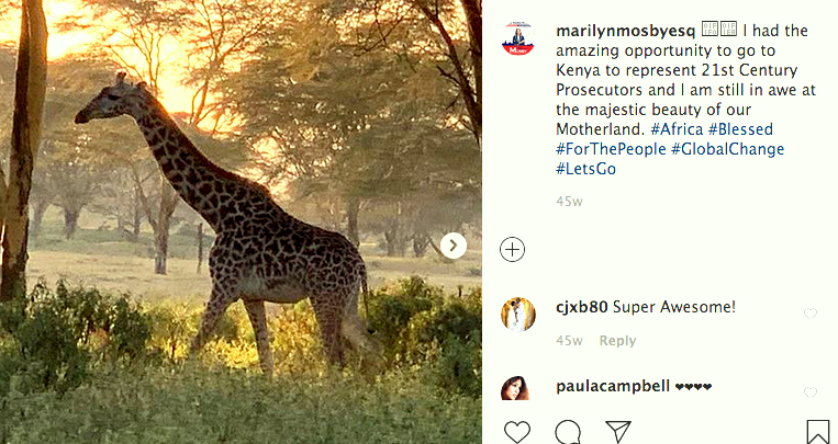 Mosby snapped and shared this photo of a giraffe while attending a conference at the Great Rift Valley Resort in Kenya in 2019. (@MarilyMosbyEsq)