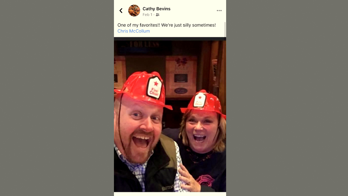 One of many postings by County Councilwoman Cathy Bevins of her friendship with Chris mcCollum, who has described the councilwoman on Facebook as