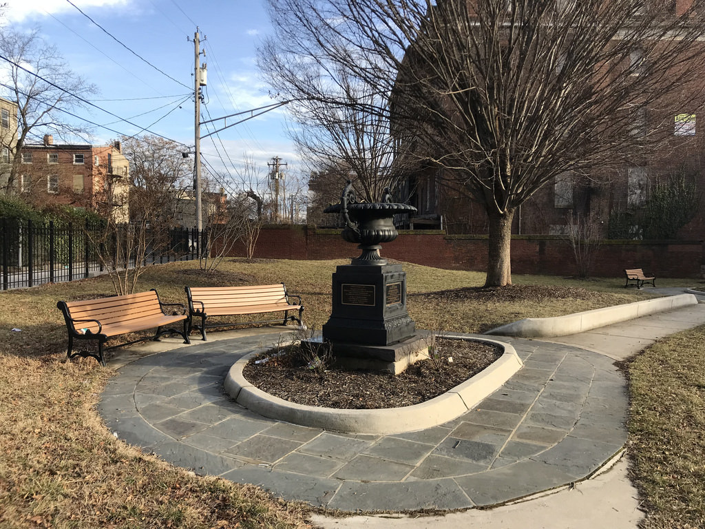 The handsomely appointed Henry Highland Garnet Park is located just north of the deteroriating Friendless building on Druid Hill Avenue. (Baltimore Heritage)