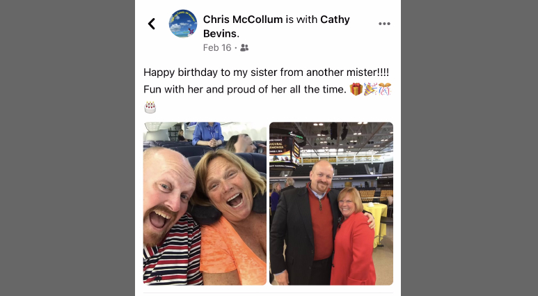 A Facebook entry by Chris McCollum on Cathy Bevins, where he served as campaign treasurer and best friend. (Facebook)