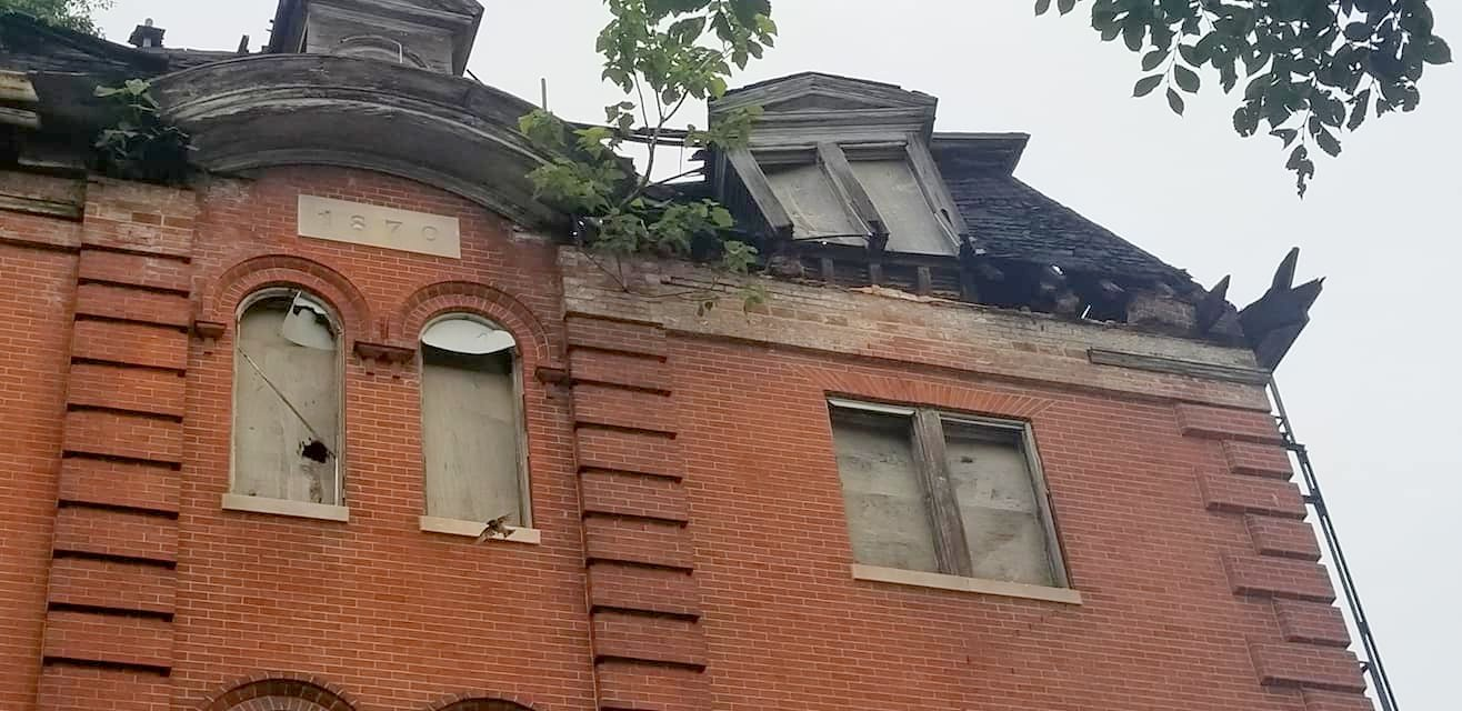 How the roof of the former orphanage building at 1313 Druid Hill Avenue looked after a portion collapses over the weekend. (Credit: Marti Pitrelli)