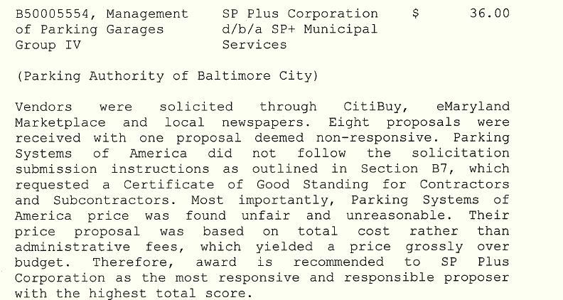 The original contract with SP Plus, as it appeared on the May29, 2019 BOE agenda.