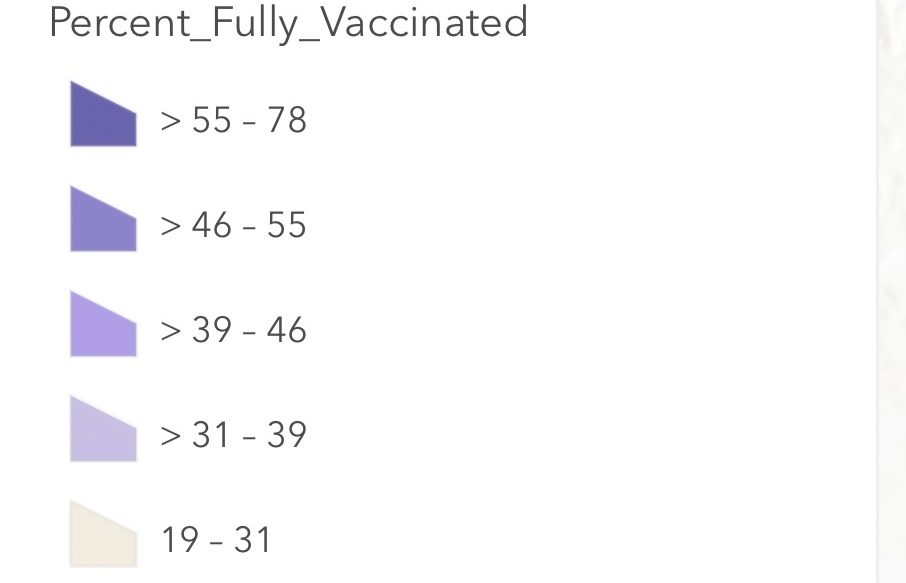 Covid vaccination rates in Baltimore by zip code. (Baltimore City Health Department Vaccination Dashboard)