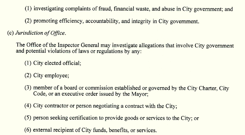 Section 3 of Article X of the Baltimore City Charter establishes the duties of the inspector general.
