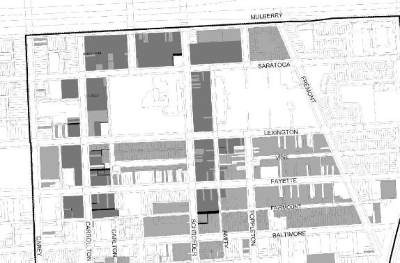 2016 map of Poppleton showing (in shades of gray) ther property acquired and to be acquired by city as part of the La Cite project. (Poppleton MOU Exhibit, November 21, 2016)