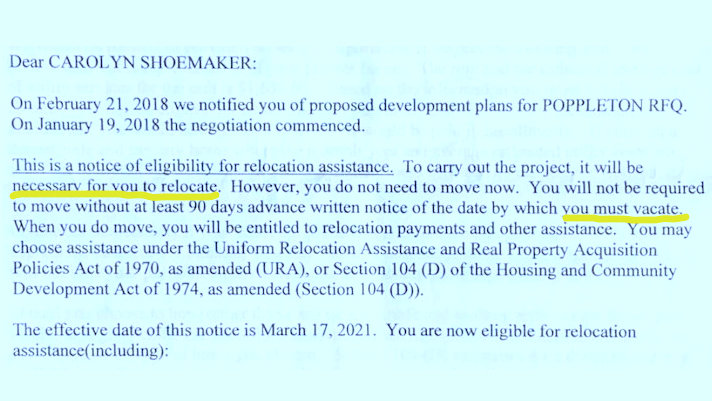 Letter from from Baltimore Housing to Carolyn Shoemaker