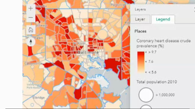 Map of adult asthma prevalence in Baltimore, from the CDC PLACES Database. Darker areas show higher prevalence.