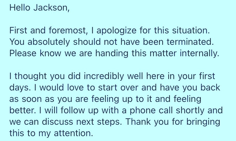 An Atlas Restaurant Group manager's text to Jackson Stinar apologizing for his firing and asking to bring him back to his job at Cafe Cunningham's.