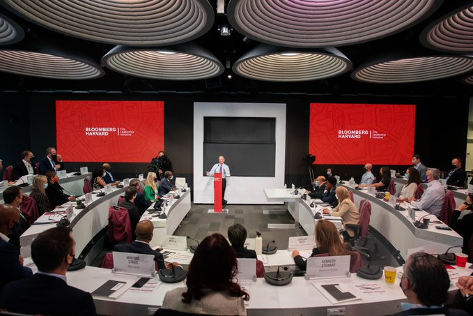 Under glittering futuristic lights, mayors attend the opening session of the year-long leadership course (@BHcityleaders)