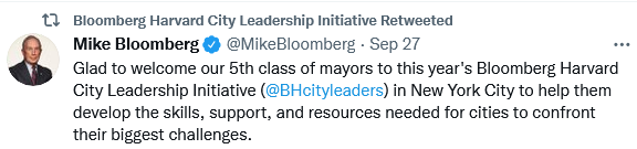 Michael Bloomberg welcomes