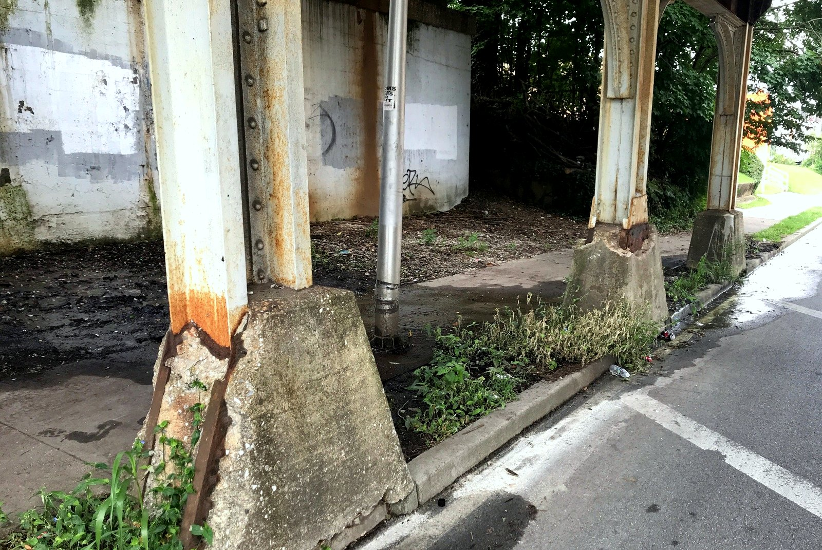 The vertical piers under the CSX bridge are rusted and the concrete footings are spalling. most likely from water damage. (Mark Reutter)