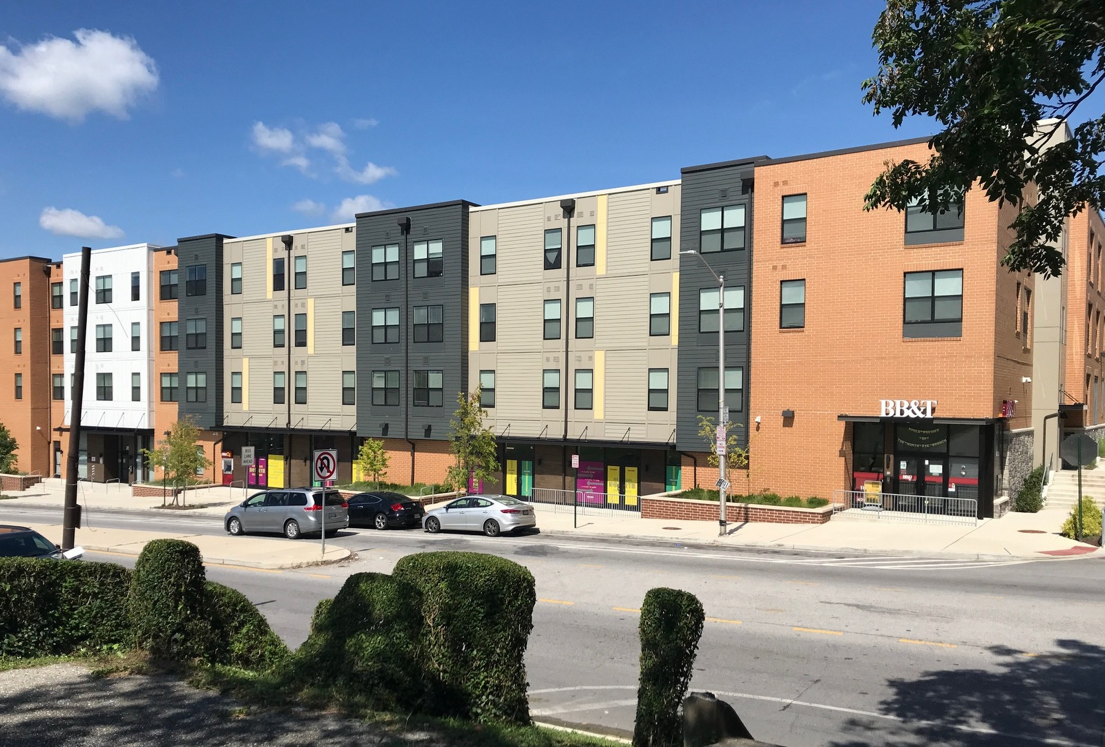 Across from the bridge, the recently opened Walbrook Mill Apartments are part of the city's effort to revitalize long-neglected North Avenue. (Mark Reutter)