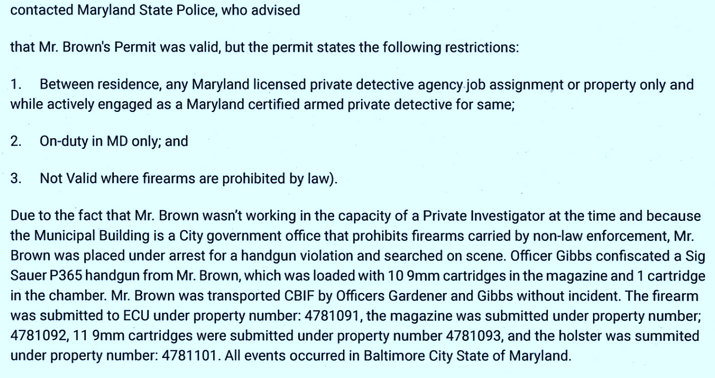 From the Baltimore Police Department report on the 8/31/21 arrest of Eric Brown at the Wolman Building.