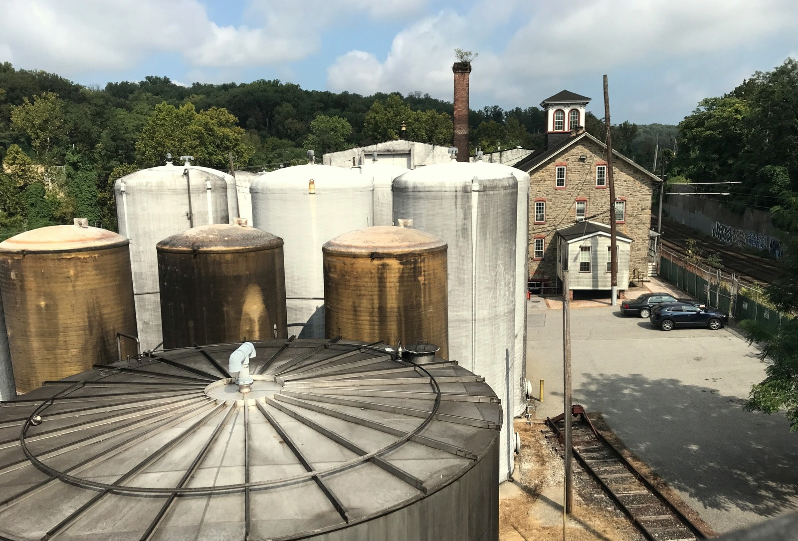 The Fleischmann's factory from the Cold Spring Lane overpass of I-83. The stone building dates back to the 19th century when the Jones Falls was a cotton-producing center. (Mark Reutter)