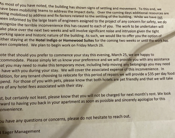 Letter sent to tenants of 4 East Eager on March 25, 2021. (Courtesy of xxx)