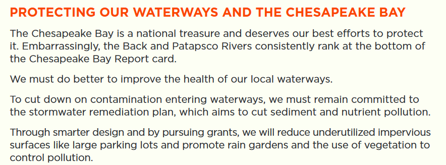 During his 2018 campaign for county executive, Johnny Olszewski Jr. said protection of local waterways and the Chesapeake Bay was one of his top priorities. (Olszewski,