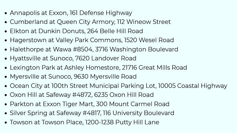 Grant recipients for the first round of fast-charging stations. (governor.maryland.gov)