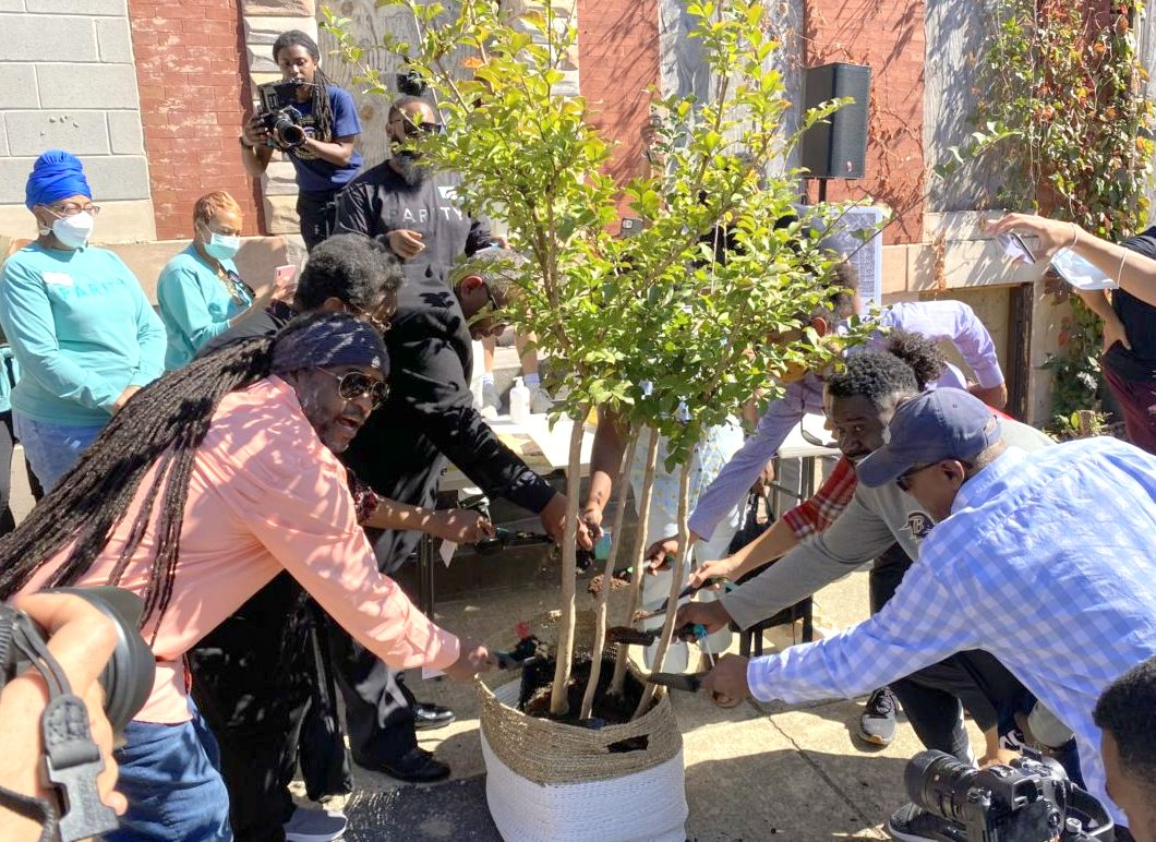 Mostly masked residents watch as neighbors plant a symbolic tree in Harlem Park on Saturday. (technical.lybaltimore)